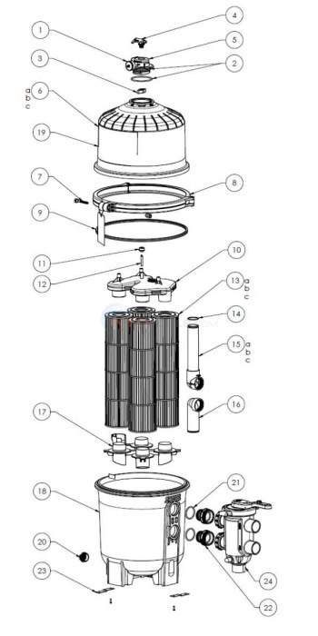 Hayward DEP 500 Series Pleated Element D.E. Filter Diagram