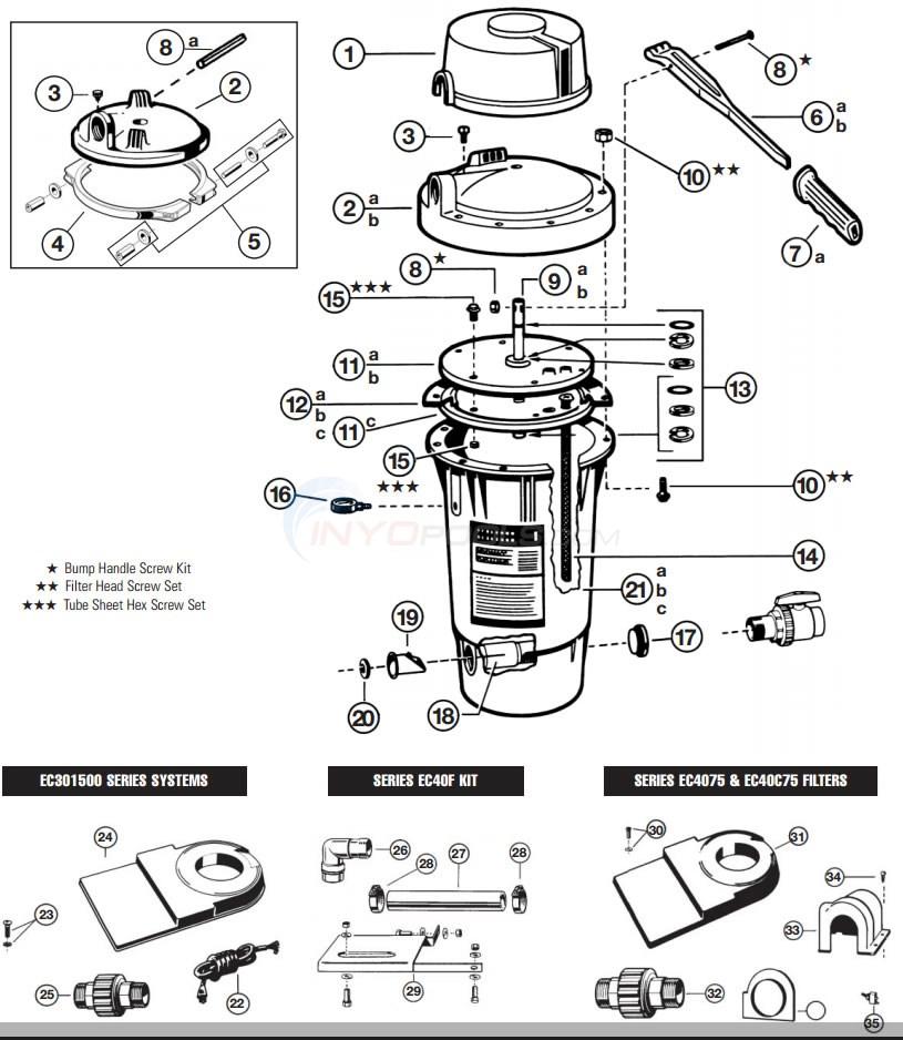 Hayward perflex ec50 ec50c, ec50a ec50ac de filter parts.