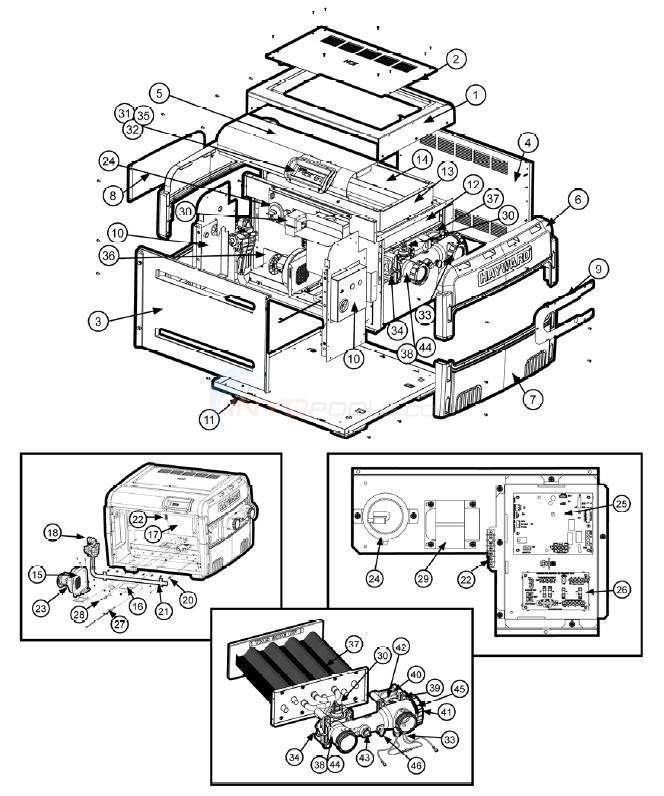 hayward universal h series low nox heaters diagram