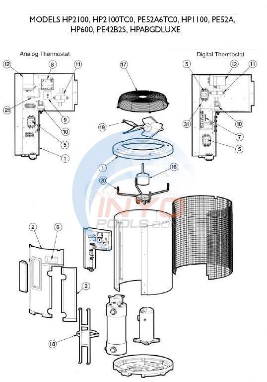 Heat Pump Parts Diagram hayward heatpro models hp2100, hp2100tc0, hp1100, hp600