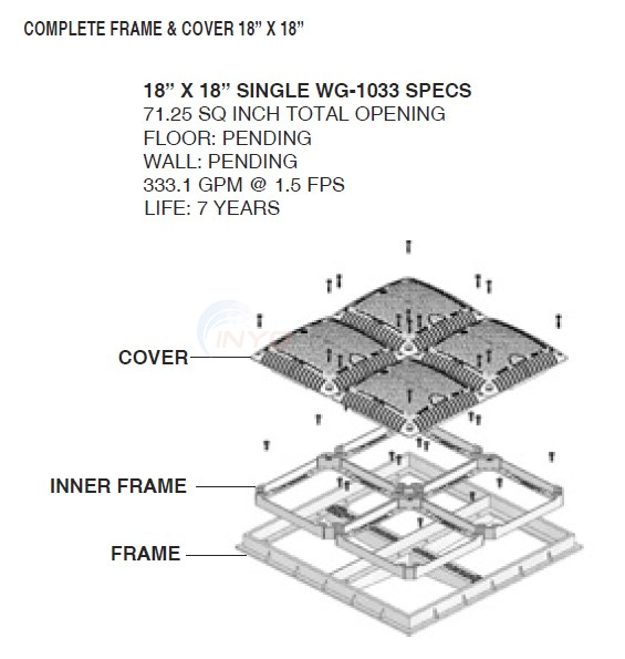 "Hayward Main Drain 18"" x 18"" Square Diagram"
