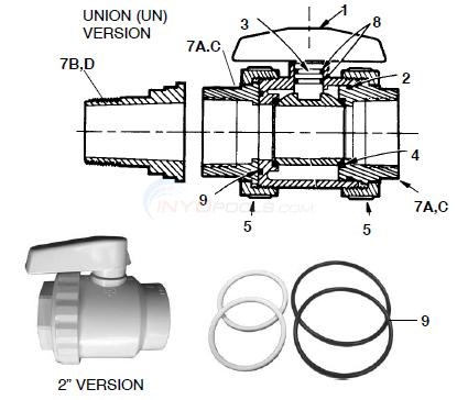 "Hayward 2"" SP-724, 725, 726 Valve Parts Diagram"