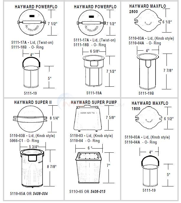 Hayward Pump Lids & Baskets Diagram