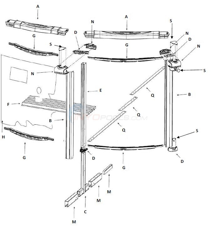 "Inspiration 12x23' Oval 54"" (Resin Top Rail, Steel Upright) Parts Diagram"
