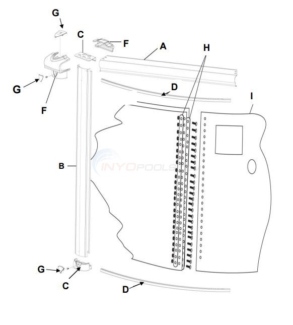 "Inspiration 12' Round 52"" (Steel Top Rail, Steel Upright) Parts Diagram"
