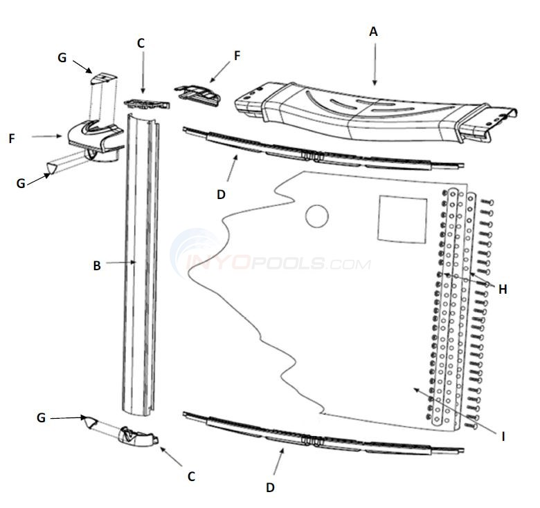 "Inspiration 24' Round 54"" (Resin Top Rail, Steel Upright) Parts Diagram"