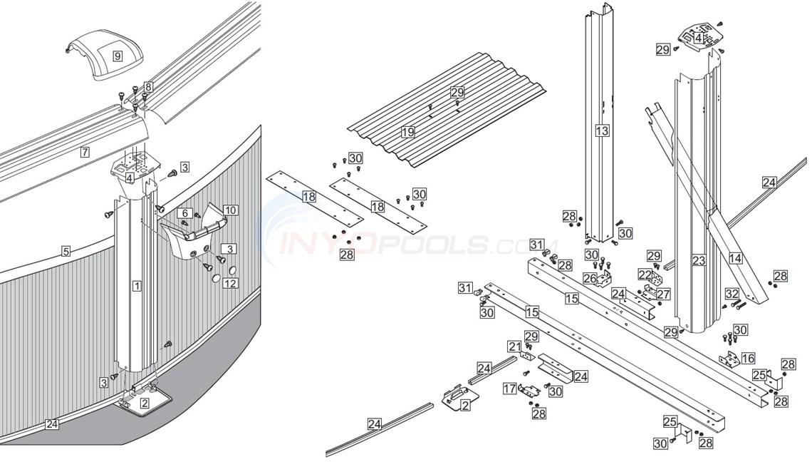 J3000 & Sierra Champagne 18'x33' Oval (Resin Top Rail, Steel Upright) Diagram