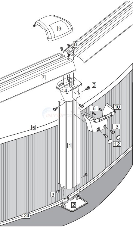 "J3000 & Sierra Champagne 15' Round 52"" Wall (Resin Top Rail, Steel Upright) Diagram"