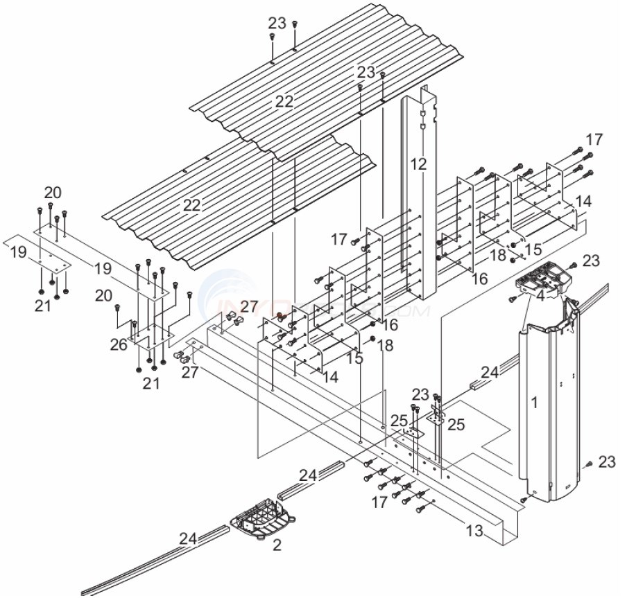 J4000 12'x24' Oval (Resin Top Rail, Resin Upright) Diagram