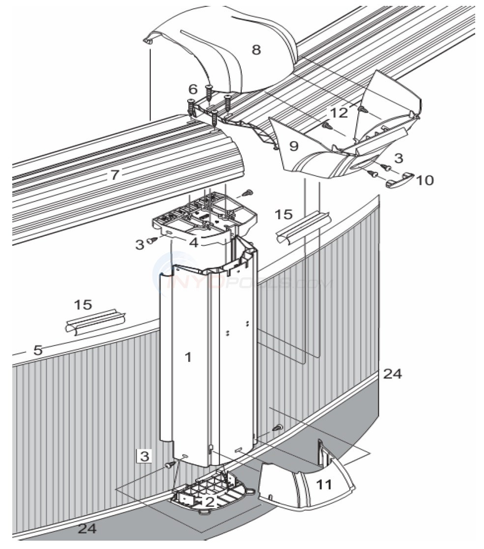"J4000 30' Round 52"" Wall (Resin Top Rail, Resin Upright) Diagram"