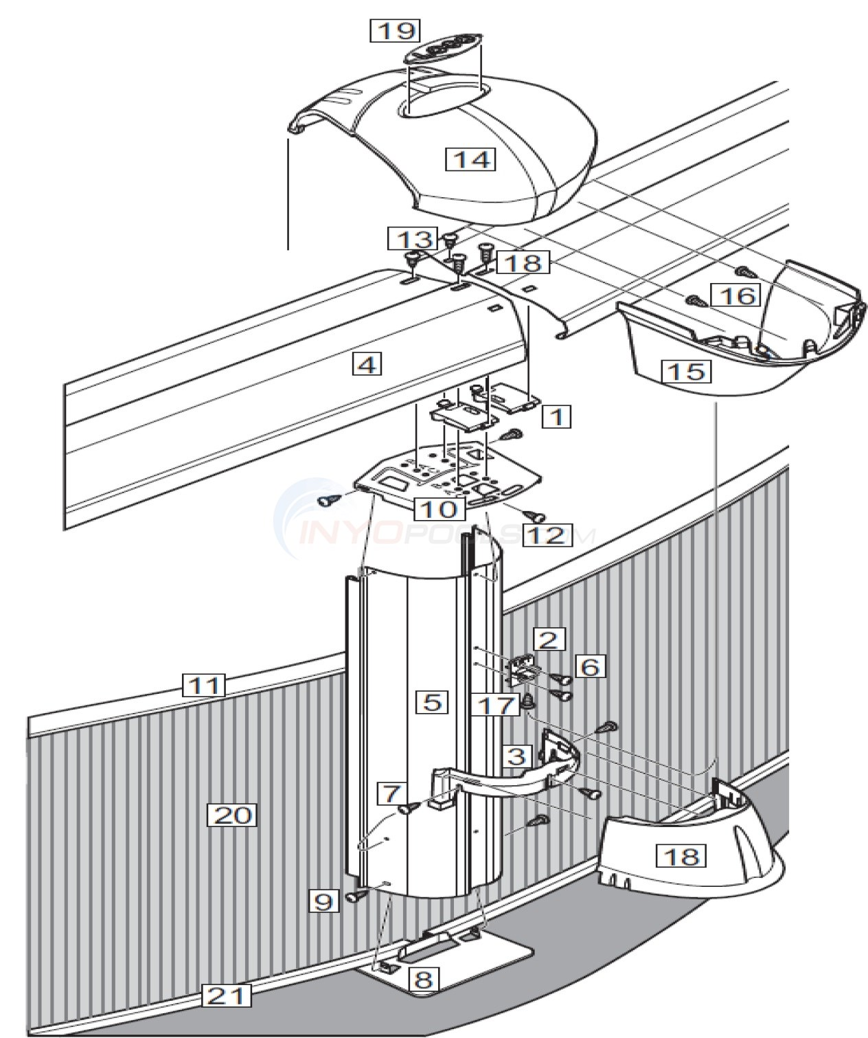 "J5000 Mist 15' Round 52"" Wall (Steel Top Rail, Steel Upright) Diagram"