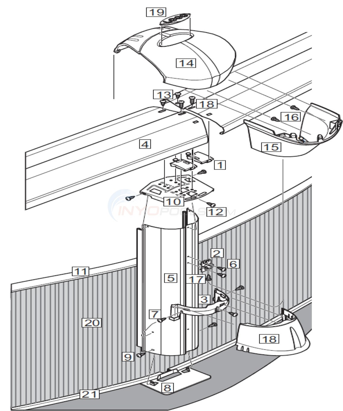 "J5000 Mist 33' Round 52"" Wall (Steel Top Rail, Steel Upright) Diagram"