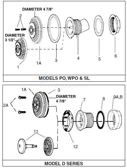 Jacuzzi Models PO, WPO, SL & D Series Diagram