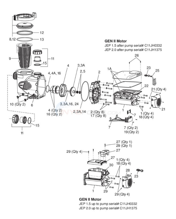 Jandy ePump Variable Speed Pump (2008-Present) Diagram