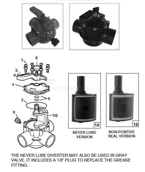 Jandy Standard & Never Lube Valve Parts Diagram