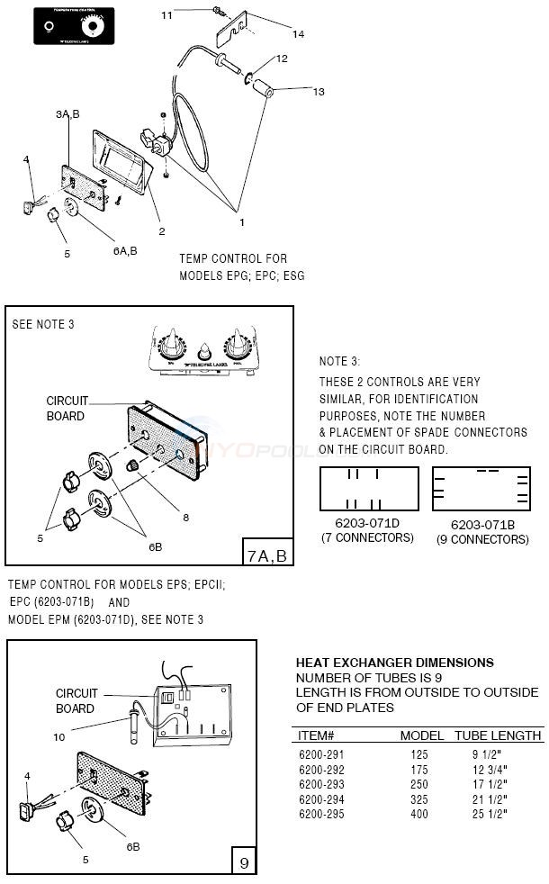 Jandy EPM, EPS, ESC, EPC, EPCII, ESG, Temp Controls Diagram