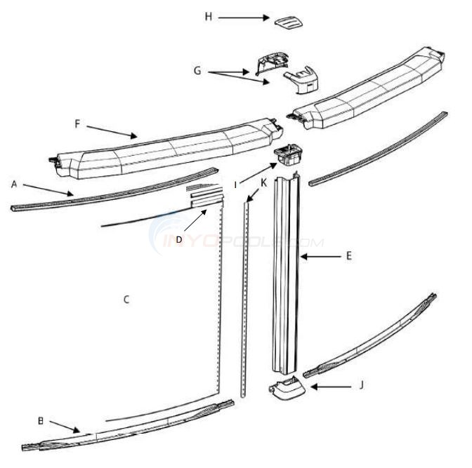 "Java 24' Round 54"" Wall (Resin Top Rail, Steel Upright) Parts Diagram"