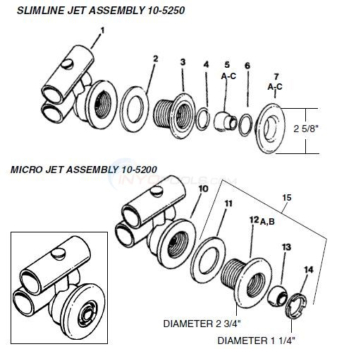 Hydro Air Bath Jets 10-5250 & 10-5200 Diagram