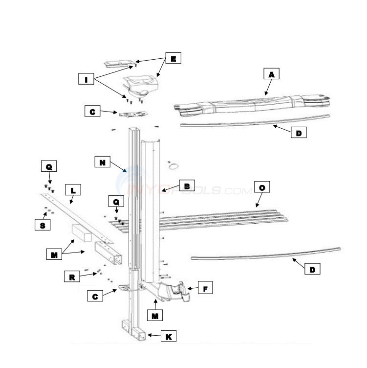 "Magnus Oval 12' x 23' x 54"" Wall (Resin Top Rail, Steel Upright) Diagram"