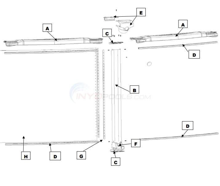 "Magnus 12' Round 54"" Wall (Resin Top Rail, Steel Upright) Diagram"
