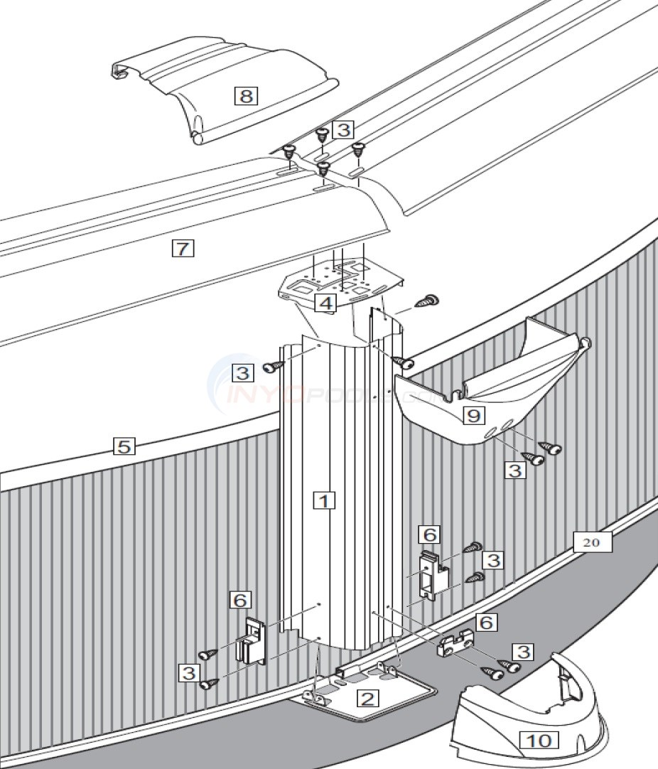 "Malibu 24' Round 52"" Wall (Steel Top Rail, Steel Upright) Diagram"