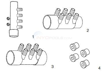"Custom Molded Plastics 3/4"" Barb Manifolds Diagram"