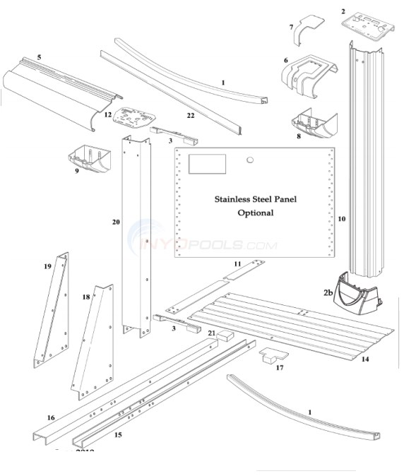 "Martinique 15'x30' Oval 54"" Wall (Resin Top Rail, Steel Upright) Diagram"