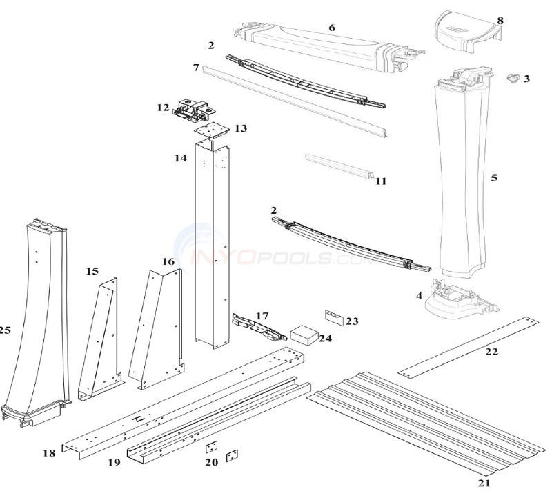 Matrix & Odyssey 18'x33' Yardmore Oval (Resin Top Rail, Resin Upright) Diagram