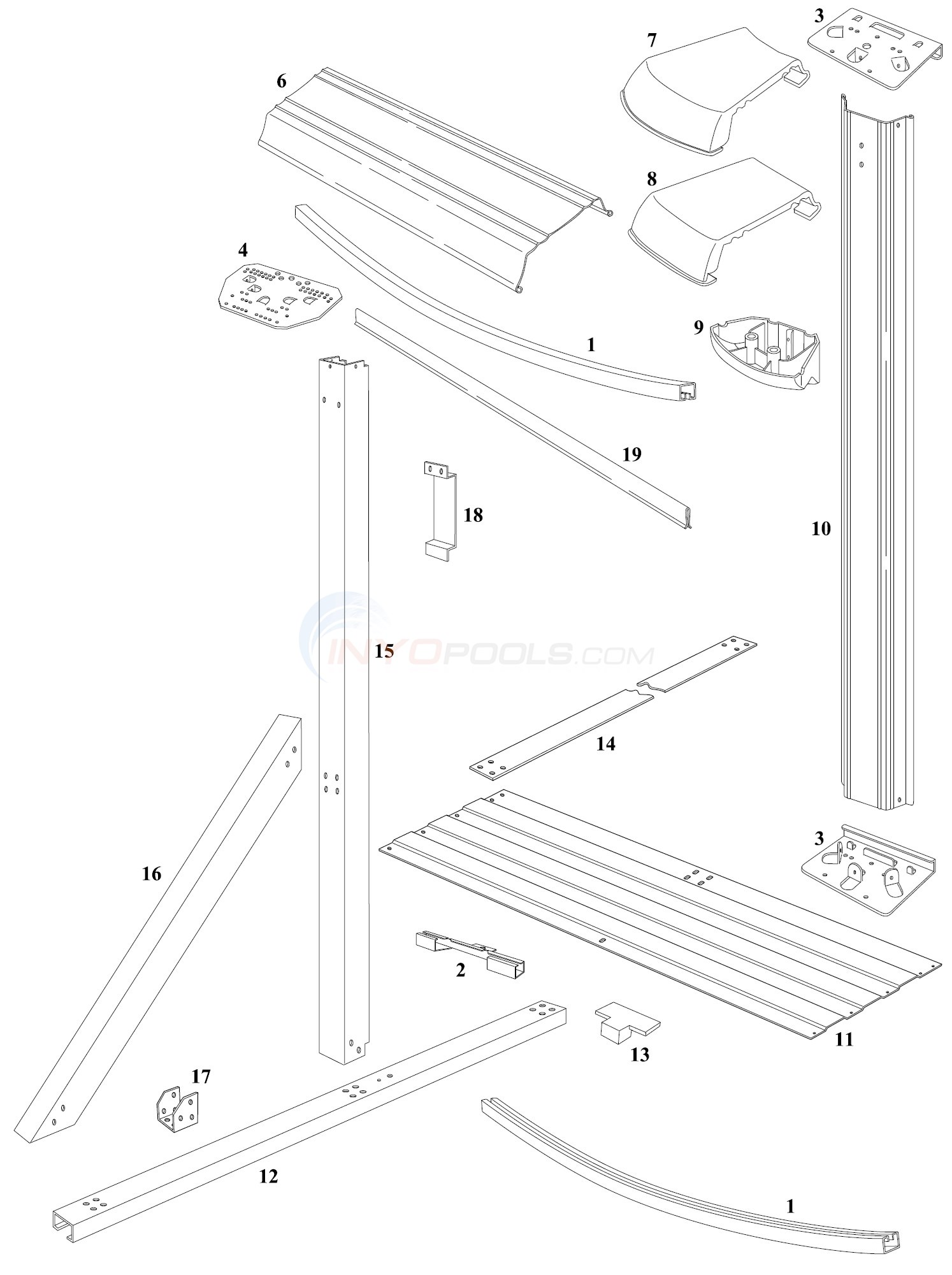 Monaco Elite 16'x32' Oval (Steel Top Rail, Steel Upright) Diagram