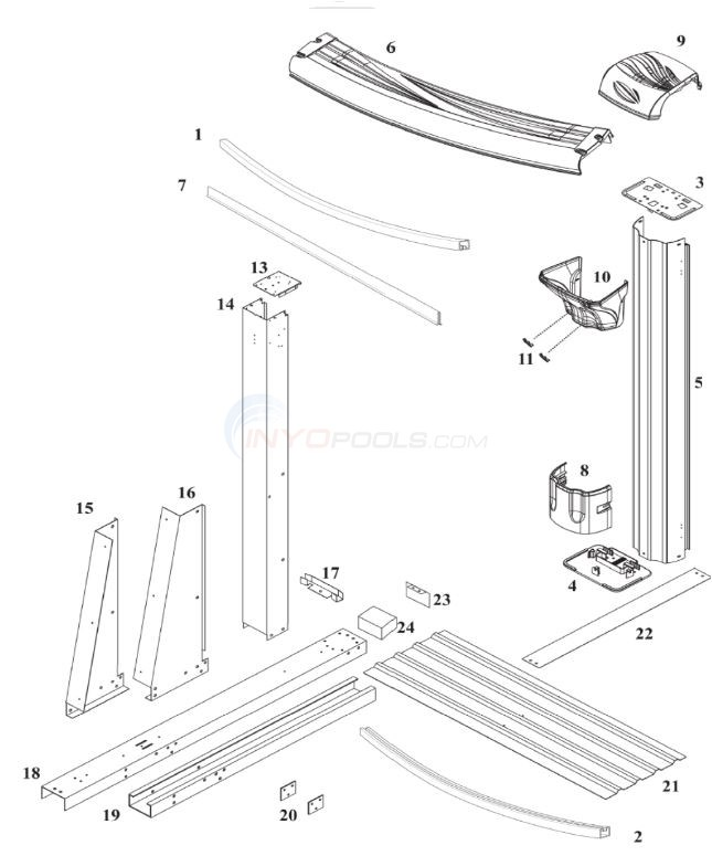 Morada 12' x 24' Yardmore Oval (Resin Top Rail, Steel Upright) Diagram