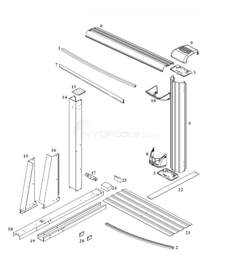 "Morada Yardmore Oval 15' x 24' x 54"" Wall (Steel Top Rail, Steel Upright) Diagram"