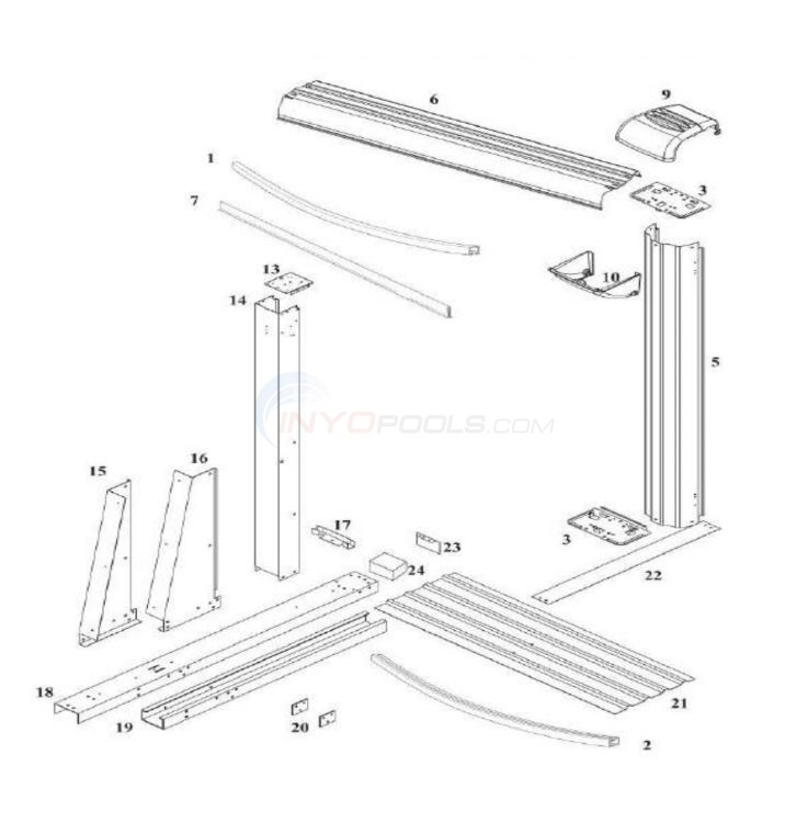 "Morada 12'x24' Yardmore Oval 52"" (Resin Top Rail, Steel Upright) Diagram"
