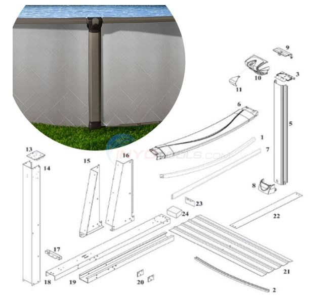 Mystique 15'x30' Yardmore Oval (Resin Top Rail, Steel Upright)  Diagram