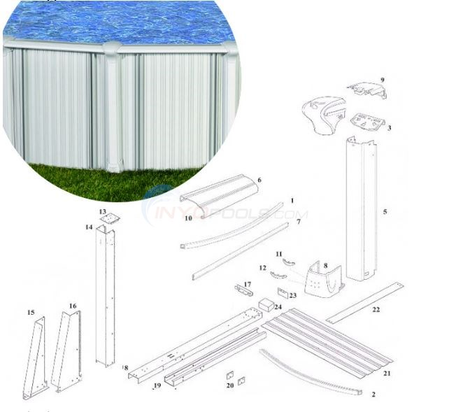 Oasis & Bermuda 15'x24' Oval (Aluminum Top Rail, Aluminum Upright) Diagram