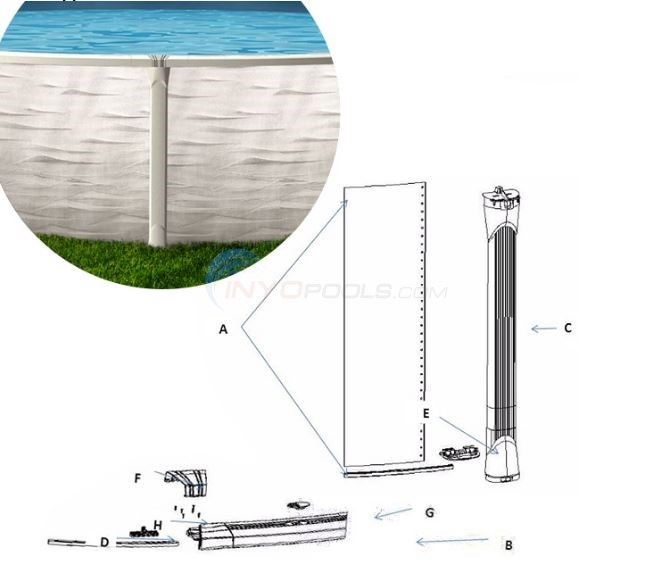 "Opus 21' Round 52"" Wall (Resin Top Rail, Resin Upright) Diagram"