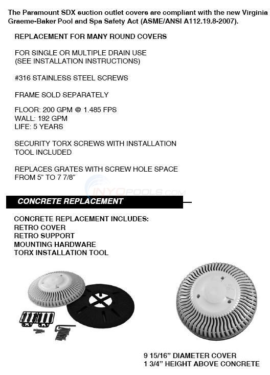 Paramount Round Gunite SDX Retrofit Main Drain Cover  Diagram