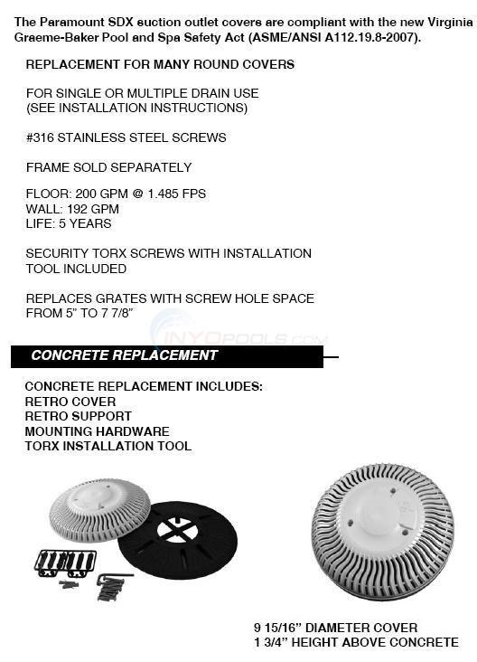 Paramount Round Gunite Sdx Retrofit Main Drain Cover Parts