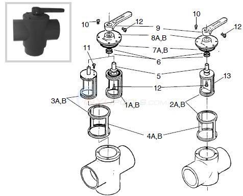 pentair / ortega valve parts diagram