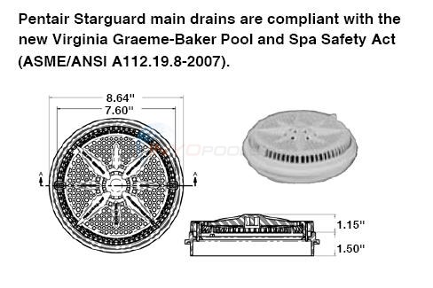 "Pentair Round 8"" Main Drain Long Ring Diagram"