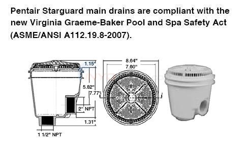 "Pentair Round 8"" Main Drain 2"" Side x 1.5"" Bottom Diagram"
