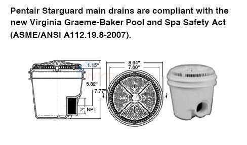 "Pentair Round 8"" Main Drain 2"" Side Port Diagram"