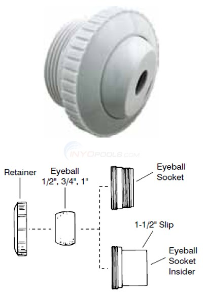 "Pentair 1-1/2""mip Threaded Eyeball Inlets Diagram"