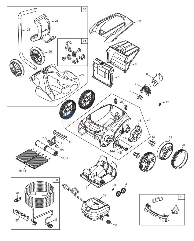 Polaris 9650iQ Sport Robotic Cleaner Diagram