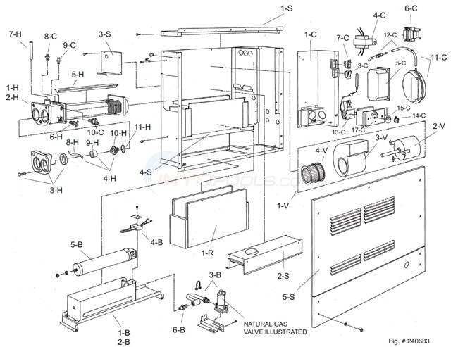 Raypak GBI Spa Model 33 & R33 (5/01/85-12/31/93) Parts