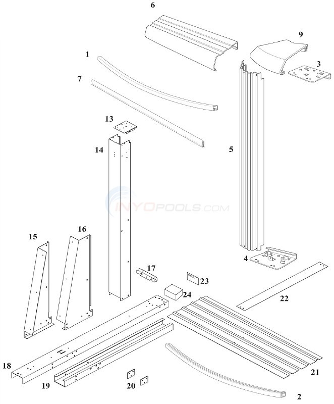 Reprieve & Concord 52 12'x17' Yardmore Oval (Steel Top Rail, Steel Upright) Diagram