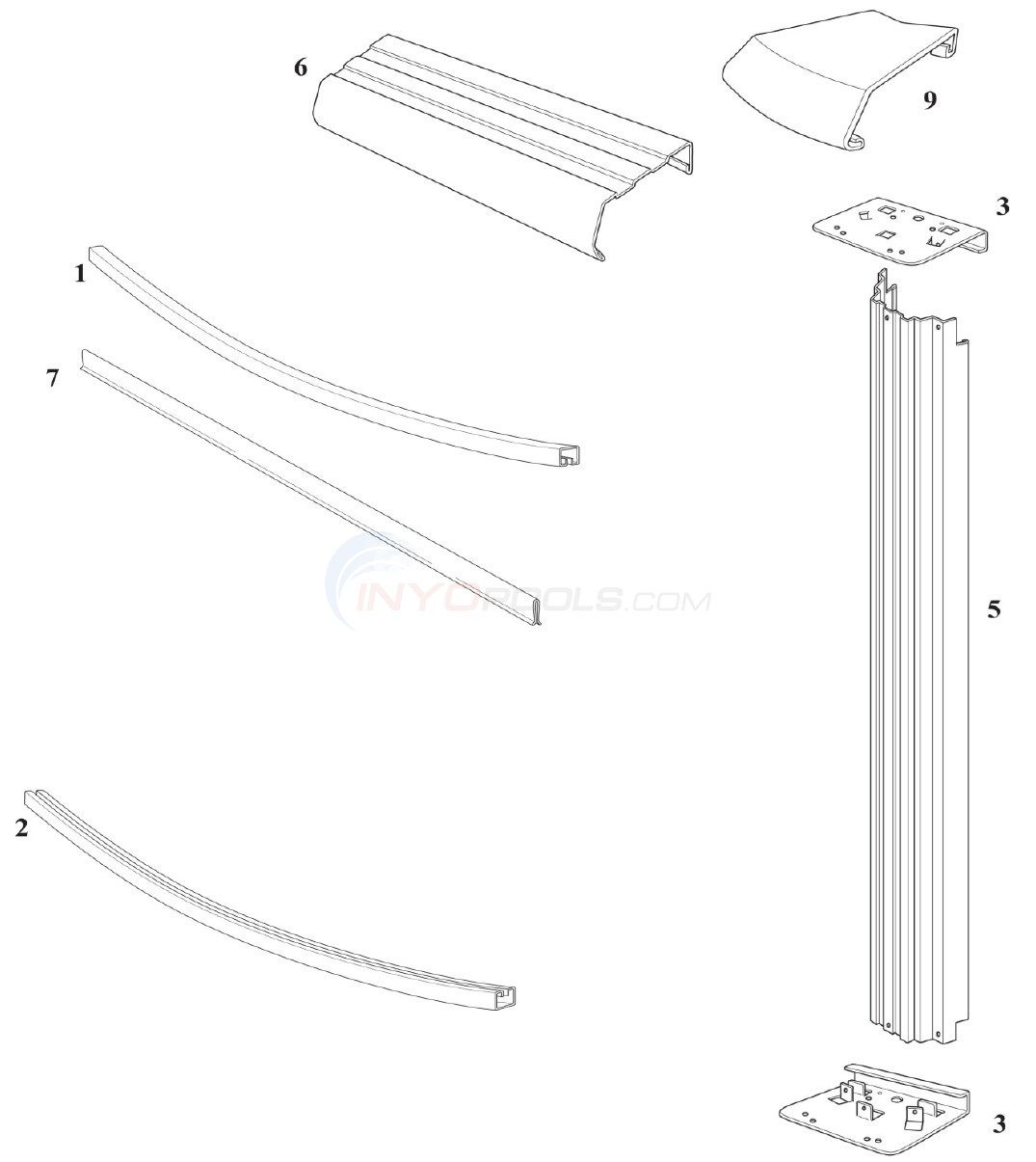 "Reprieve & Concord 27' Round 52"" Wall (Steel Top Rail, Steel Upright) Diagram"