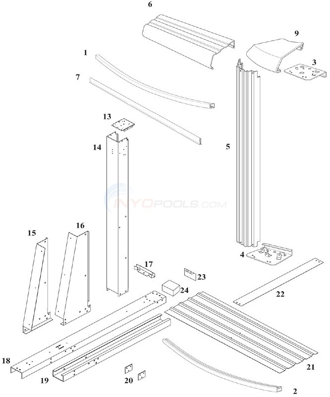 Reprieve 54 12'x24' Yardmore Oval (Steel Top Rail, Steel Upright) Diagram