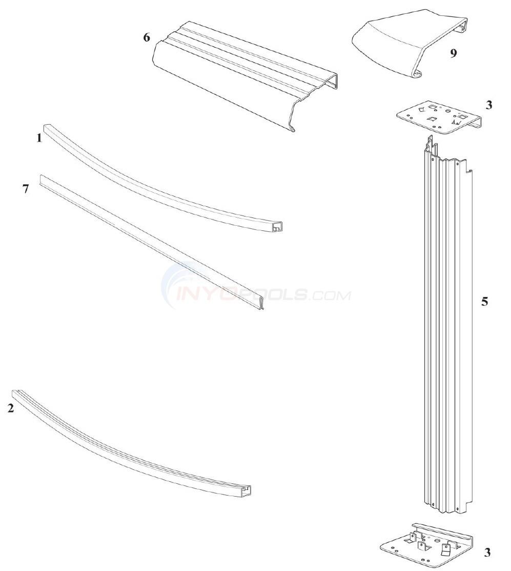 "Reprieve 24' Round 54"" Wall (Steel Top Rail, Steel Upright) Diagram"