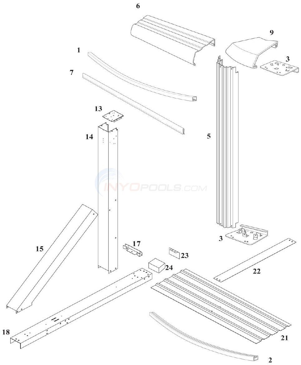 Reprieve 12'x24' Yardmore Oval w/ Buttress (Steel Top Rail, Steel Upright)  Diagram