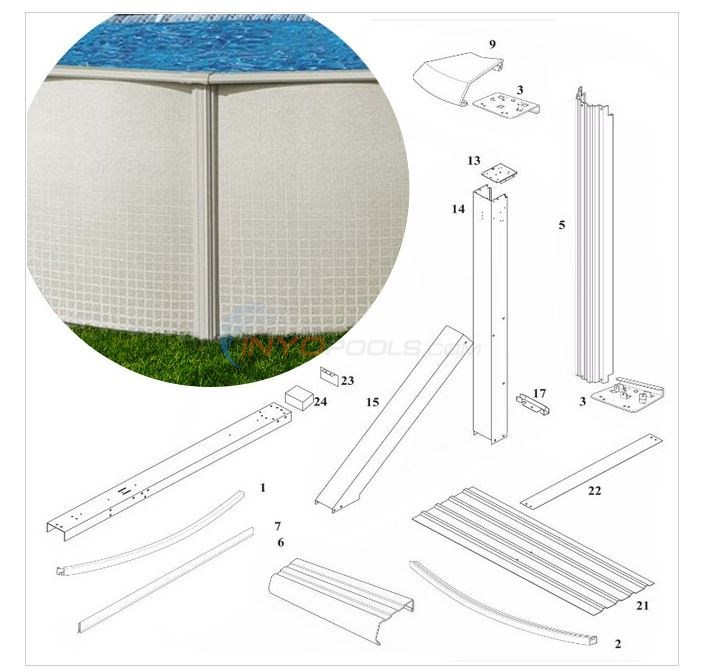 "Reprieve 52"" Wall 15'x24' Buttress Oval (Steel Top Rail, Steel Upright) Diagram"
